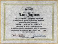 Larry's Heating and Air Conditioning Diploma.