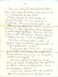 Dai Vernon's handwritten foreword to The Classic Magic Of Larry Jennings